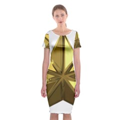 Stars Gold Color Transparency Classic Short Sleeve Midi Dress