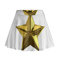 Stars Gold Color Transparency Mini Flare Skirt