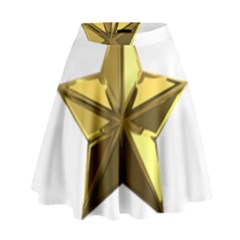 Stars Gold Color Transparency High Waist Skirt
