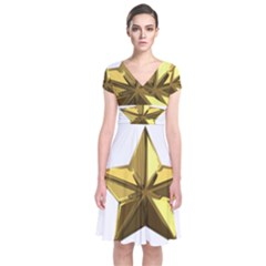 Stars Gold Color Transparency Short Sleeve Front Wrap Dress