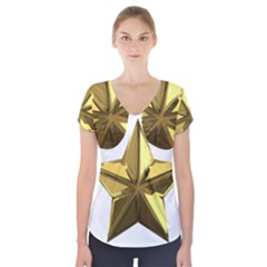 Stars Gold Color Transparency Short Sleeve Front Detail Top