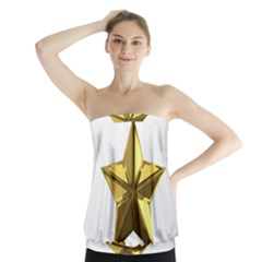 Stars Gold Color Transparency Strapless Top