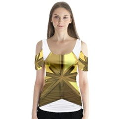 Stars Gold Color Transparency Butterfly Sleeve Cutout Tee