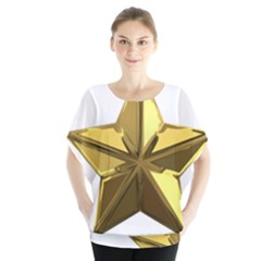Stars Gold Color Transparency Blouse