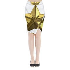 Stars Gold Color Transparency Midi Wrap Pencil Skirt