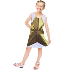 Stars Gold Color Transparency Kids  Tunic Dress