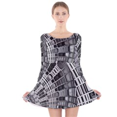 Semi Circles Abstract Geometric Modern Art Long Sleeve Velvet Skater Dress