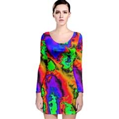 Hot Fractal Statement Long Sleeve Velvet Bodycon Dress