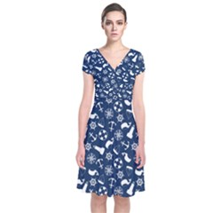 Nautical Navy Short Sleeve Front Wrap Dress
