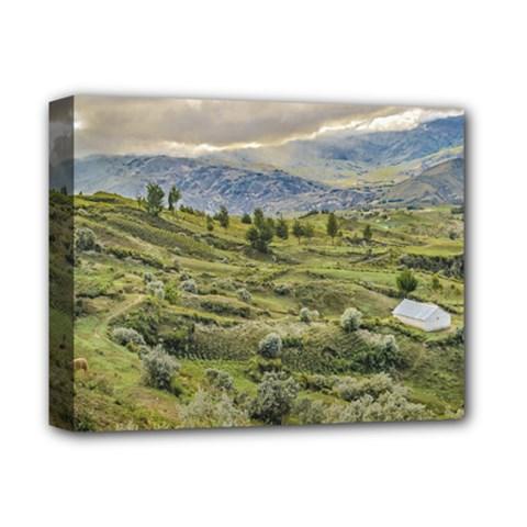 Andean Rural Scene Quilotoa, Ecuador Deluxe Canvas 14  x 11