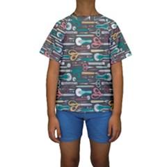 Sewing Stripes Kids  Short Sleeve Swimwear