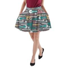 Sewing Stripes A-Line Pocket Skirt
