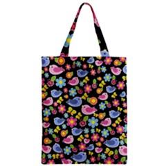 Spring pattern - black Zipper Classic Tote Bag