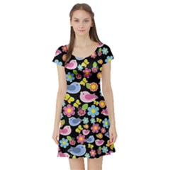 Spring pattern - black Short Sleeve Skater Dress