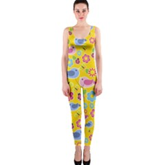 Spring pattern - yellow OnePiece Catsuit