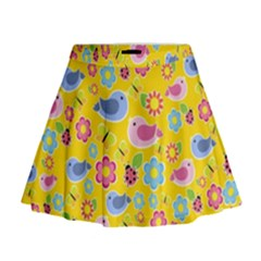 Spring pattern - yellow Mini Flare Skirt