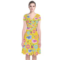 Spring pattern - yellow Short Sleeve Front Wrap Dress