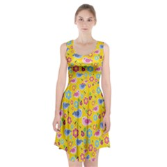Spring pattern - yellow Racerback Midi Dress
