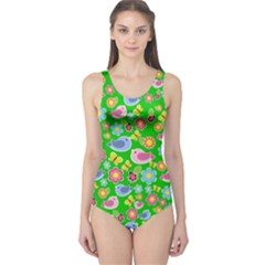 Spring pattern - green One Piece Swimsuit