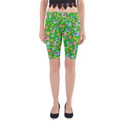 Spring pattern - green Yoga Cropped Leggings