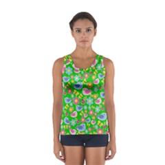 Spring pattern - green Women s Sport Tank Top