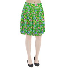 Spring pattern - green Pleated Skirt