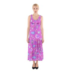Spring pattern - pink Sleeveless Maxi Dress