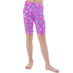 Spring pattern - pink Kids  Mid Length Swim Shorts