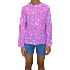 Spring pattern - pink Kids  Long Sleeve Swimwear