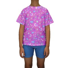 Spring pattern - pink Kids  Short Sleeve Swimwear