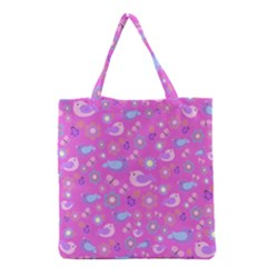 Spring pattern - pink Grocery Tote Bag