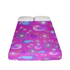 Spring pattern - pink Fitted Sheet (Full/ Double Size)