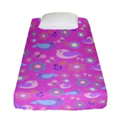 Spring pattern - pink Fitted Sheet (Single Size)