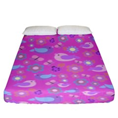 Spring pattern - pink Fitted Sheet (King Size)