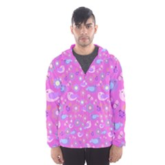 Spring pattern - pink Hooded Wind Breaker (Men)