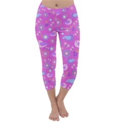Spring pattern - pink Capri Winter Leggings