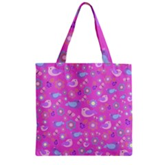 Spring pattern - pink Zipper Grocery Tote Bag