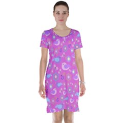Spring pattern - pink Short Sleeve Nightdress