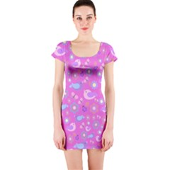 Spring pattern - pink Short Sleeve Bodycon Dress