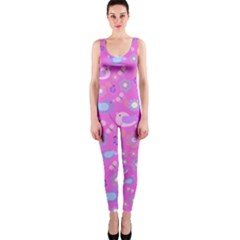 Spring pattern - pink OnePiece Catsuit