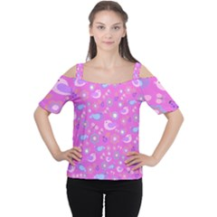Spring pattern - pink Women s Cutout Shoulder Tee
