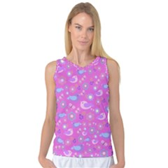 Spring pattern - pink Women s Basketball Tank Top