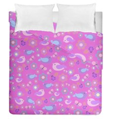 Spring pattern - pink Duvet Cover Double Side (Queen Size)