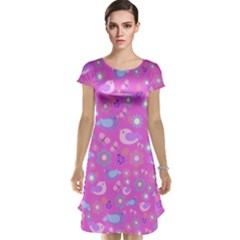 Spring pattern - pink Cap Sleeve Nightdress