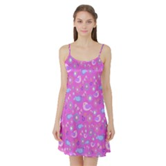 Spring pattern - pink Satin Night Slip