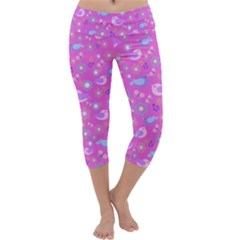 Spring pattern - pink Capri Yoga Leggings