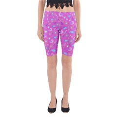 Spring pattern - pink Yoga Cropped Leggings