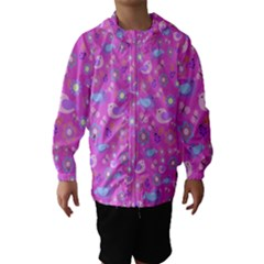 Spring pattern - pink Hooded Wind Breaker (Kids)