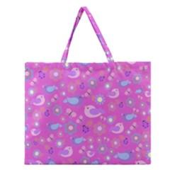 Spring pattern - pink Zipper Large Tote Bag