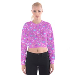Spring pattern - pink Women s Cropped Sweatshirt